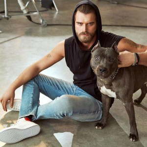 Kivanc Tatlitug and Pitbull dog