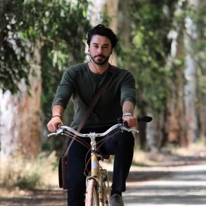 Gokhan Alkan is riding a bicycle