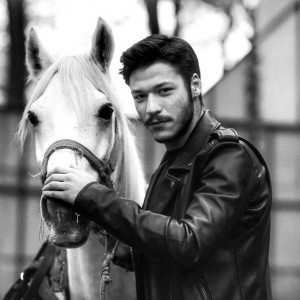 Kubilay Aka and his horse (Black - White)