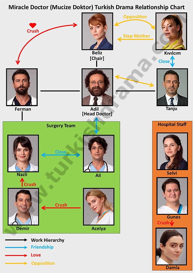 Miracle Doctor (Mucize Doktor) Turkish Drama Relationship Chart
